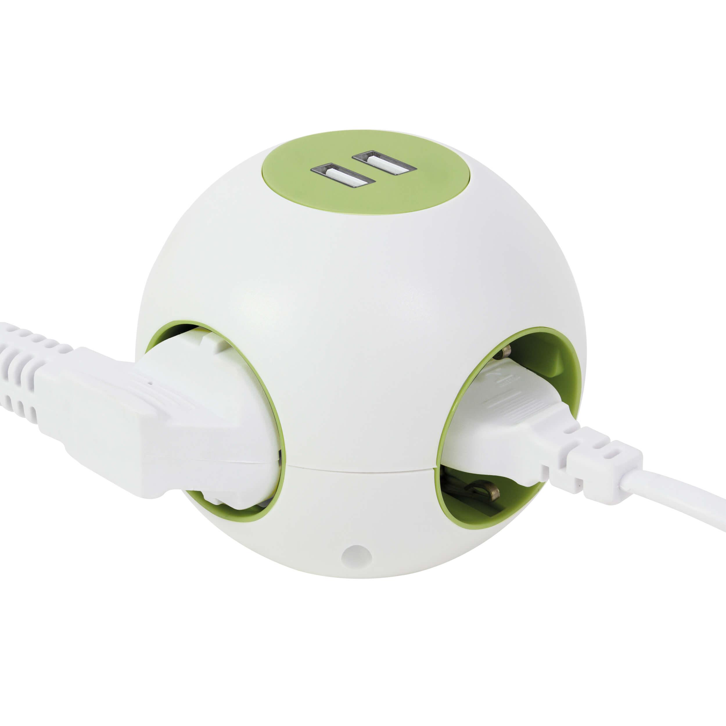 Kugel-Mehrfachsteckdose Powerglobe mit Schalter und USB Anschluss, Ø 9cm, bis 3500W, Zuleitung 140 cm