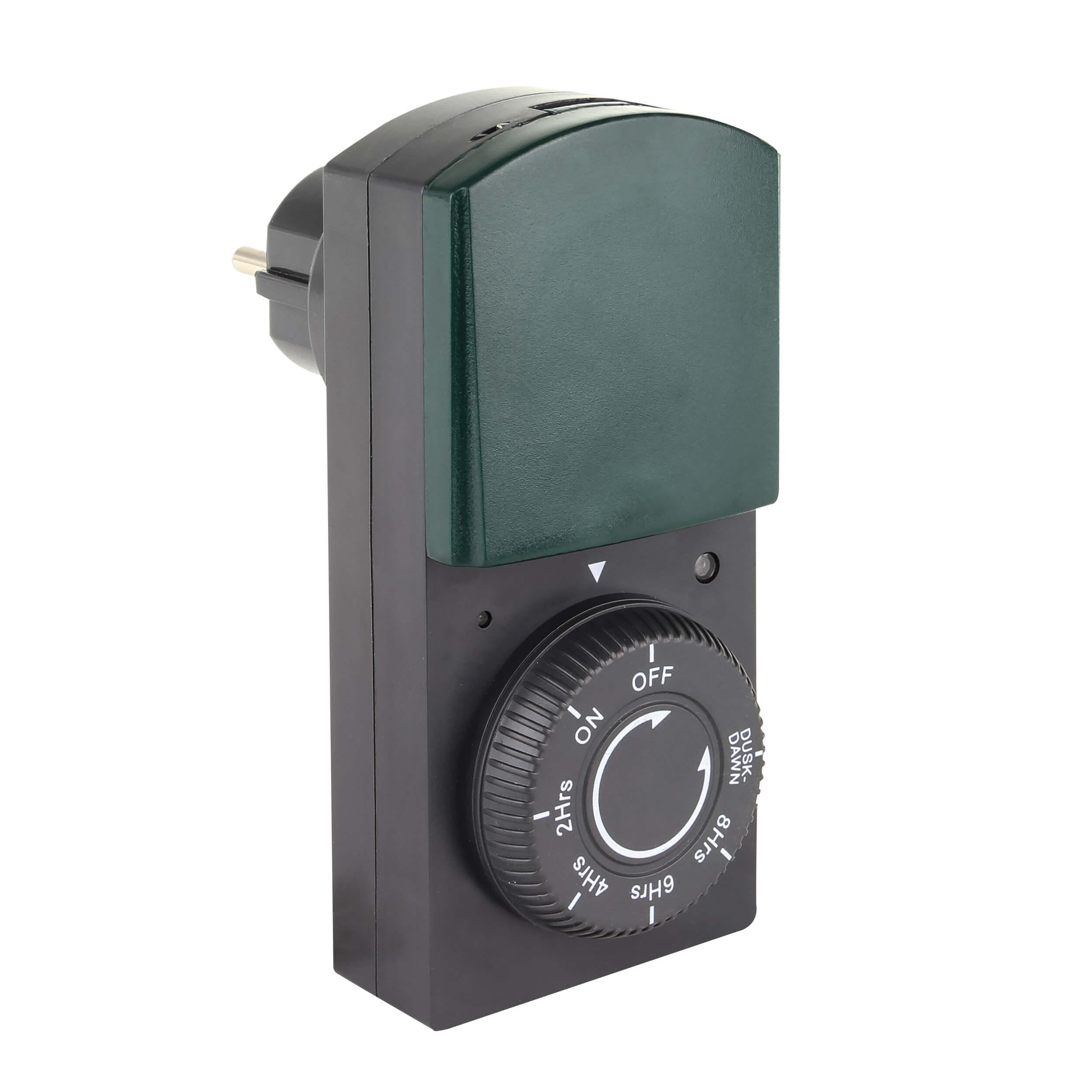 Zeitschaltuhr mechanisch mit Dämmerungs- und Countdownfunktion für den Außenbereich, IP44, bis 1000W