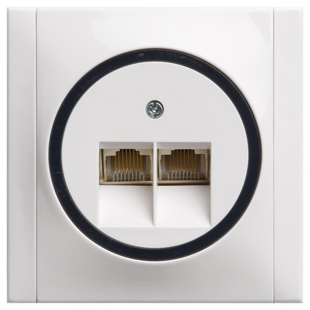 Ascoli ISDN Steckdose mit 2x Ausgängen und Rahmen hellgrau