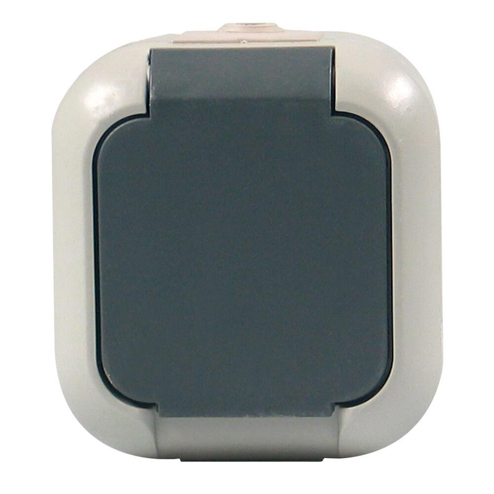 ATLANTIK Steckdose für feuchte Räume, grau