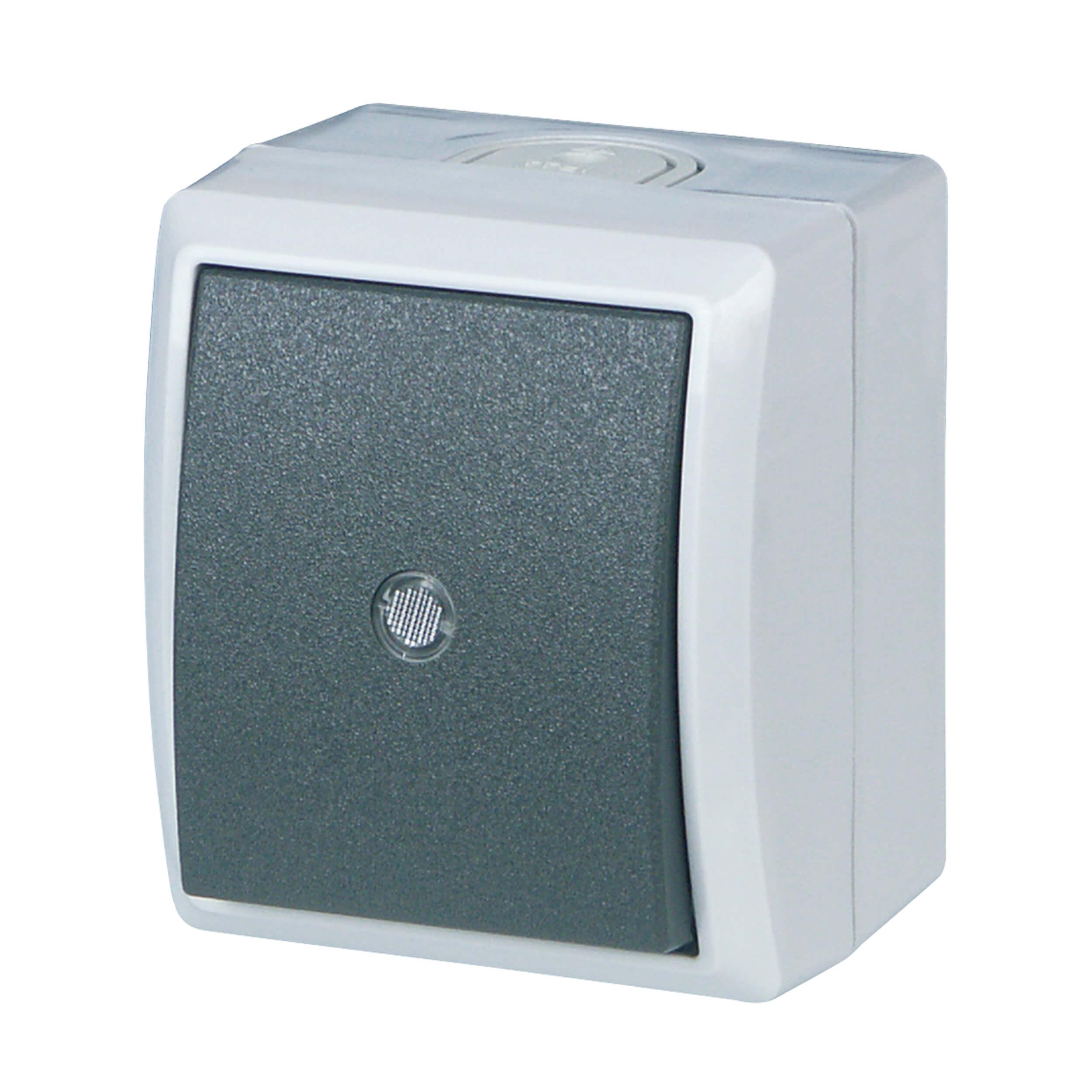AquaForm Kontroll-Wechselschalter für feuchte Räume, grau