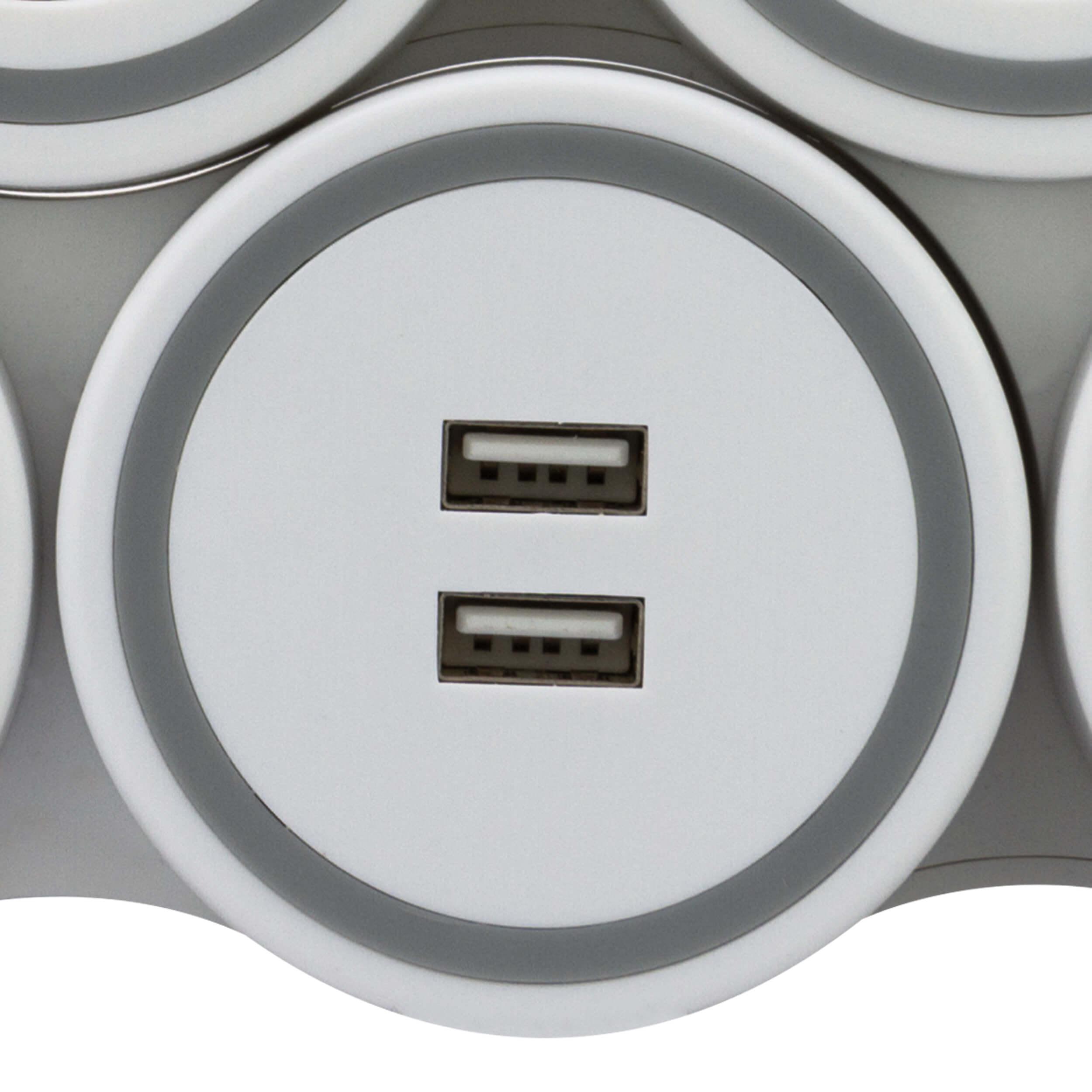 Steckdosenleiste SupraFlex - flexibel an die Umgebung anpassbar, 4-fach + 2x USB, bis 3500W, Zuleitung 140cm