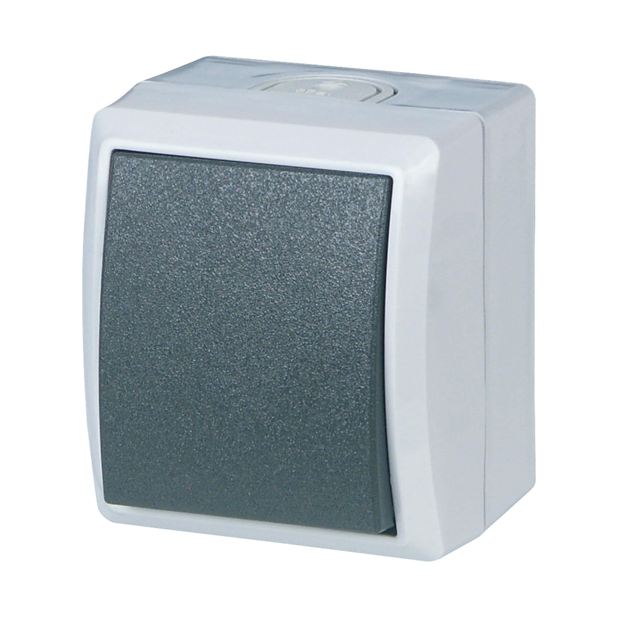 AquaForm Aus- u. Wechselschalter für feuchte Räume, grau
