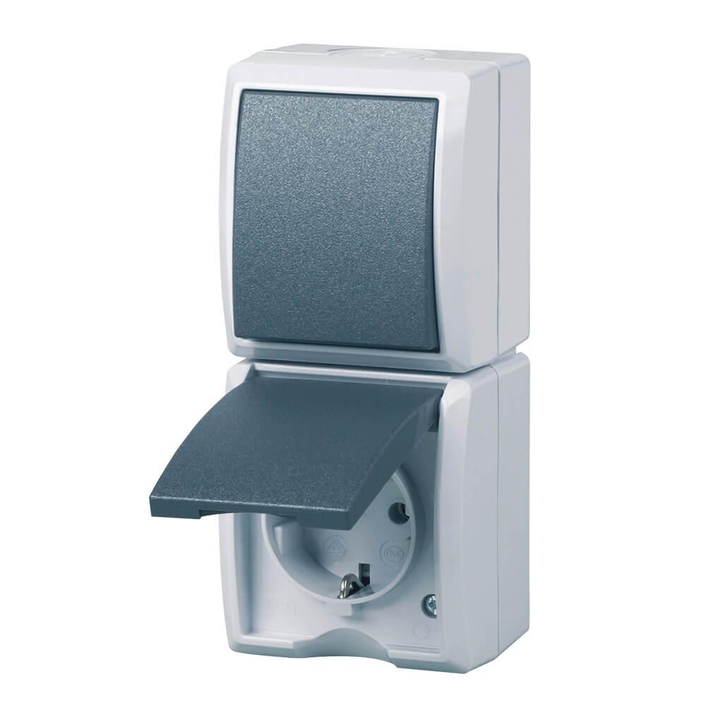 AquaForm Aus- u. Wechselschalter mit Steckdose für feuchte Räume, grau