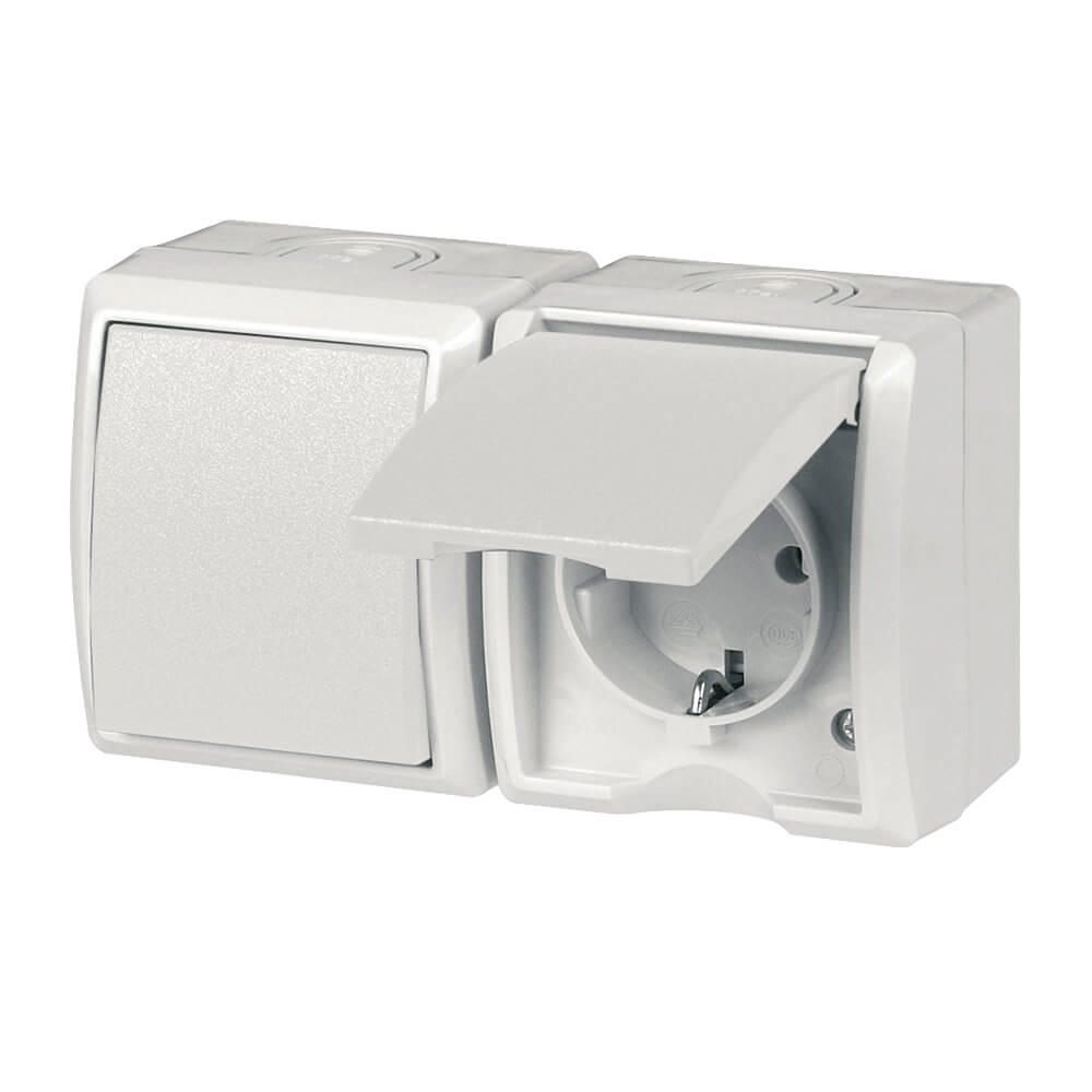 AquaForm Aus- u. Wechselschalter mit Steckdose für feuchte Räume, weiss